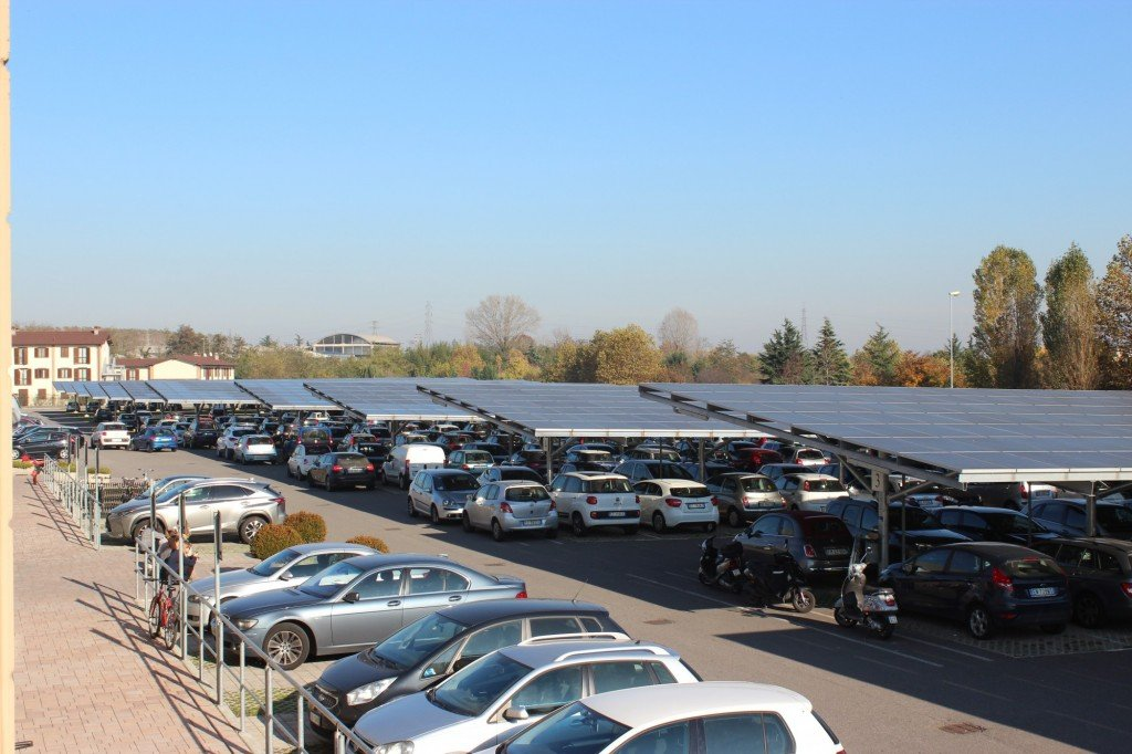Shady parking with sun electric panels