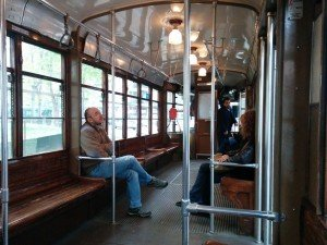 Inside a Milan tram car