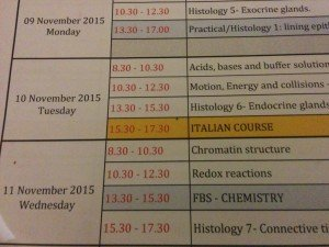 First scheduled Italian course