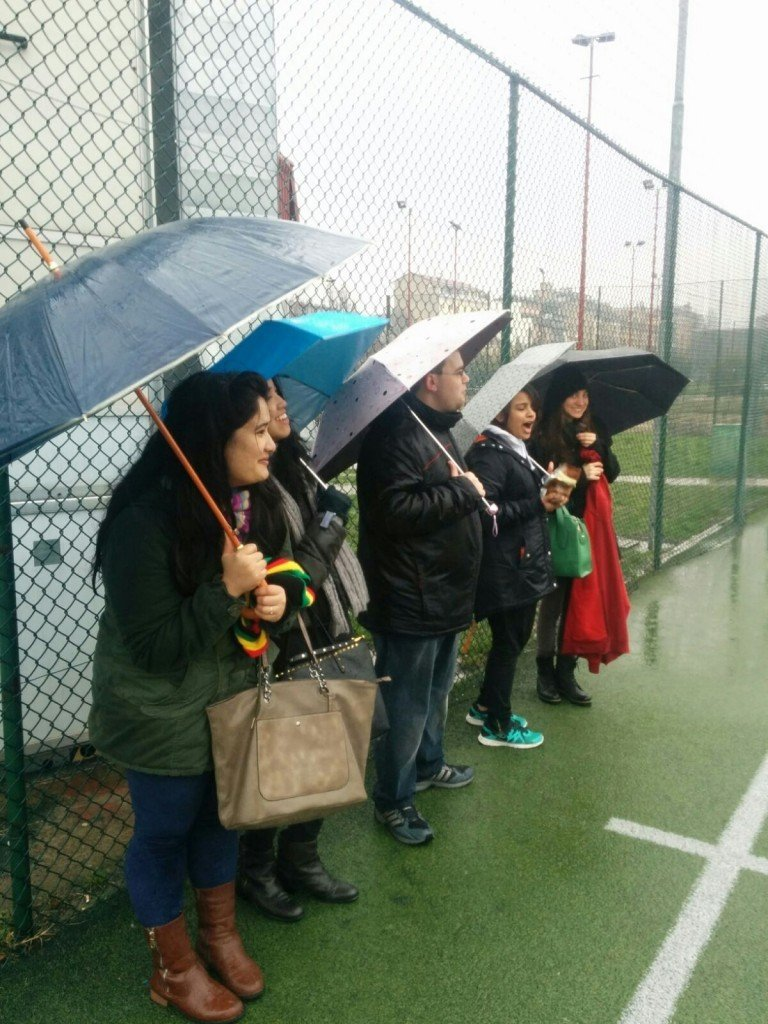 1st-year fans providing vigorous moral support, despite their team trailing for most of the match