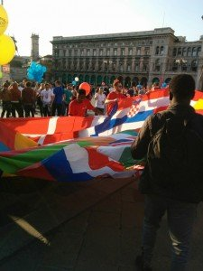 International students celebrating diversity at the Duomo, the central square in Milan