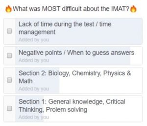 Most difficult things about the IMAT test