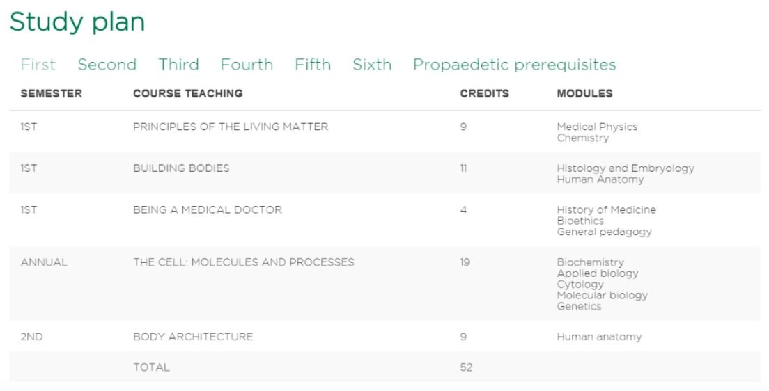 First year classes at Humanitas University med school