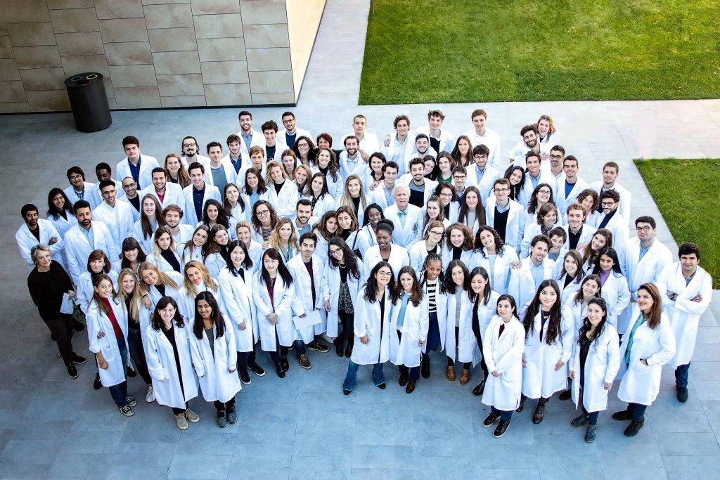 Medical students in white coats at Humanitas University